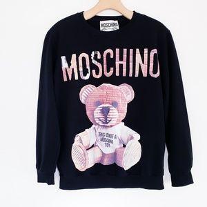 MOCHINO Teddy Bear Graphic Long Sleeve Tee Top Blk